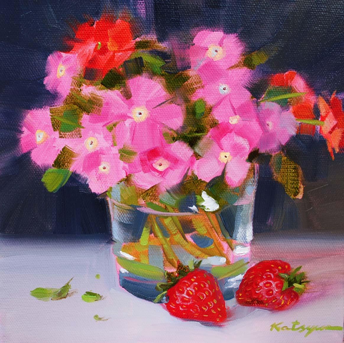 """""""Pink Flowers and Strawberries"""" original fine art by Elena Katsyura"""