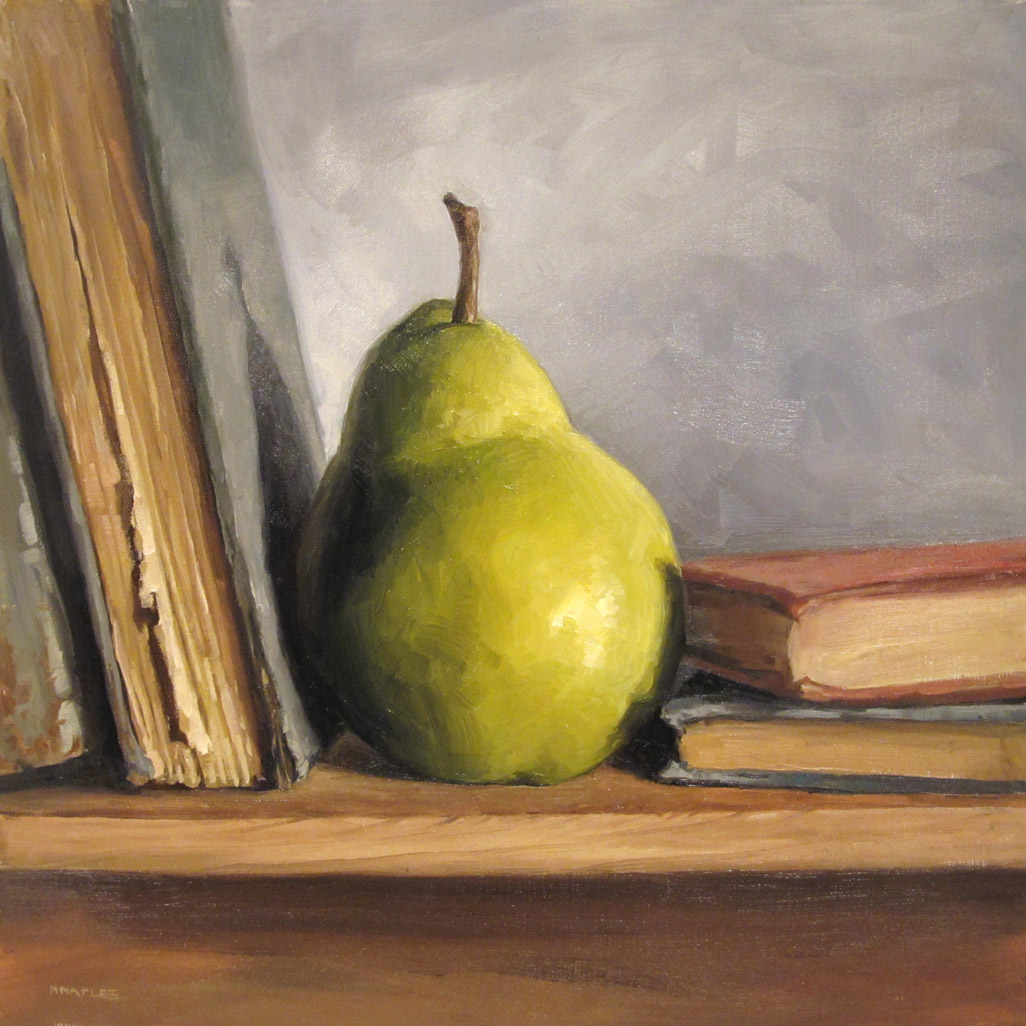 """Pear With Books"" original fine art by Michael Naples"