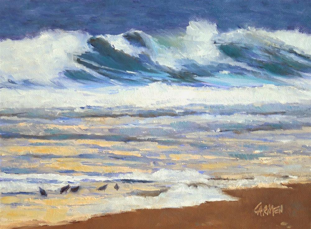 """Sea at Sunup, 8x6 Oil on Canvas, Seascape with Birds"" original fine art by Carmen Beecher"