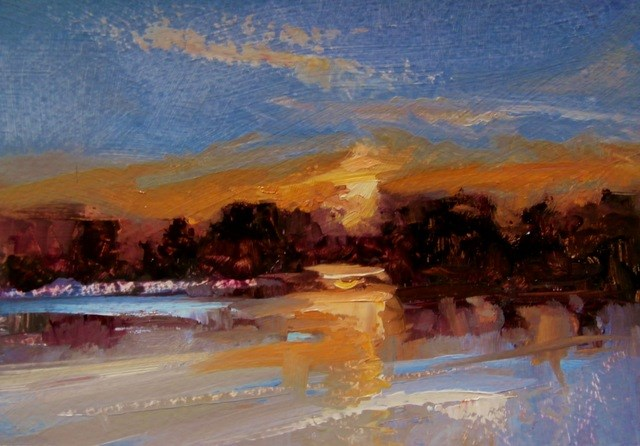 """Last Lights and Lakes"" original fine art by Anne Wood"