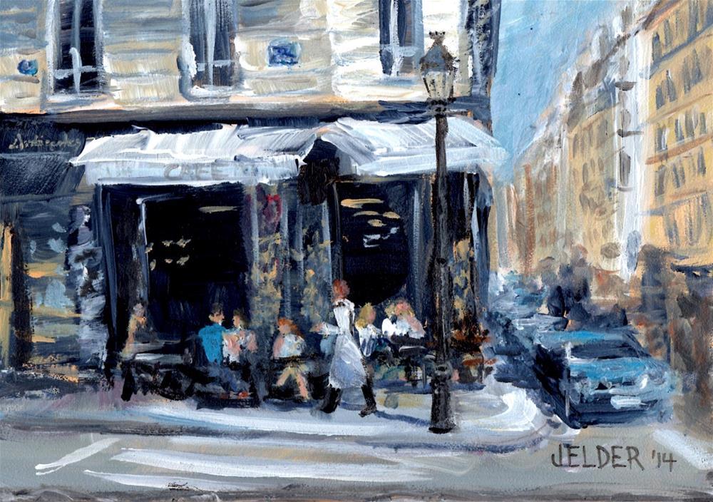 """St. Regis Cafe, Paris No. 52"" original fine art by Judith Elder"