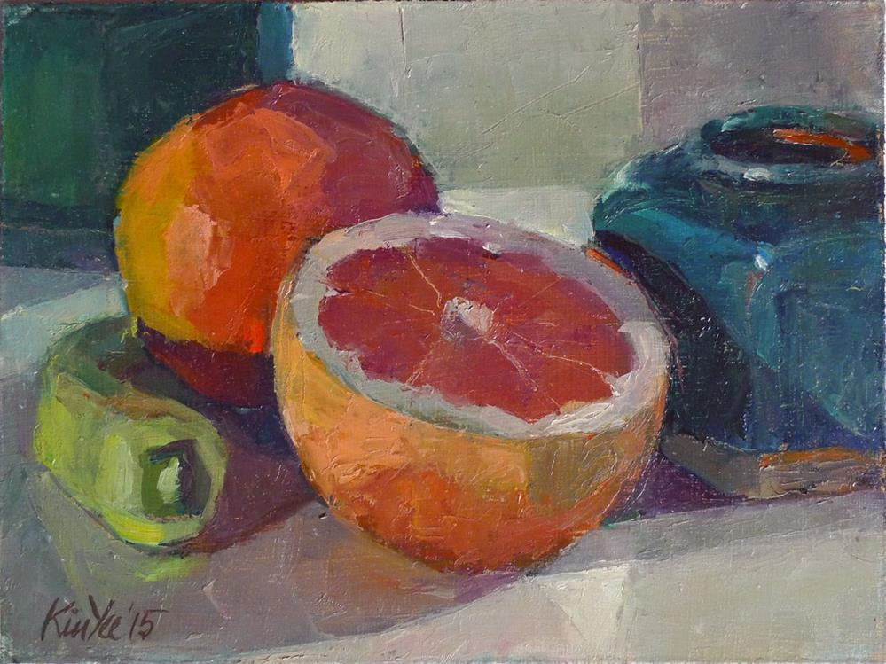 """Last of the Season Pink Grapefruit"" original fine art by Myriam Kin-Yee"