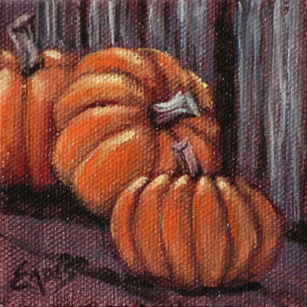 """Pumpkins on the Shelf"" original fine art by Linda Eades Blackburn"