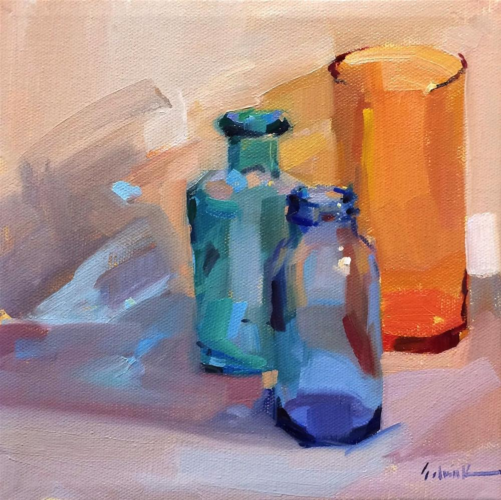 """Three Bottles (sketch)"" original fine art by Sarah Sedwick"