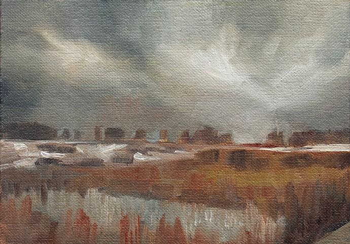 """Snowy Field Before Sunrise"" original fine art by J M Needham"