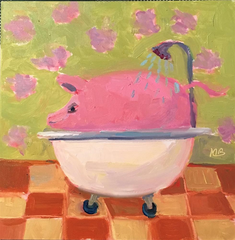 """PIg in a Poke"" original fine art by Marcia Bergtholdt"