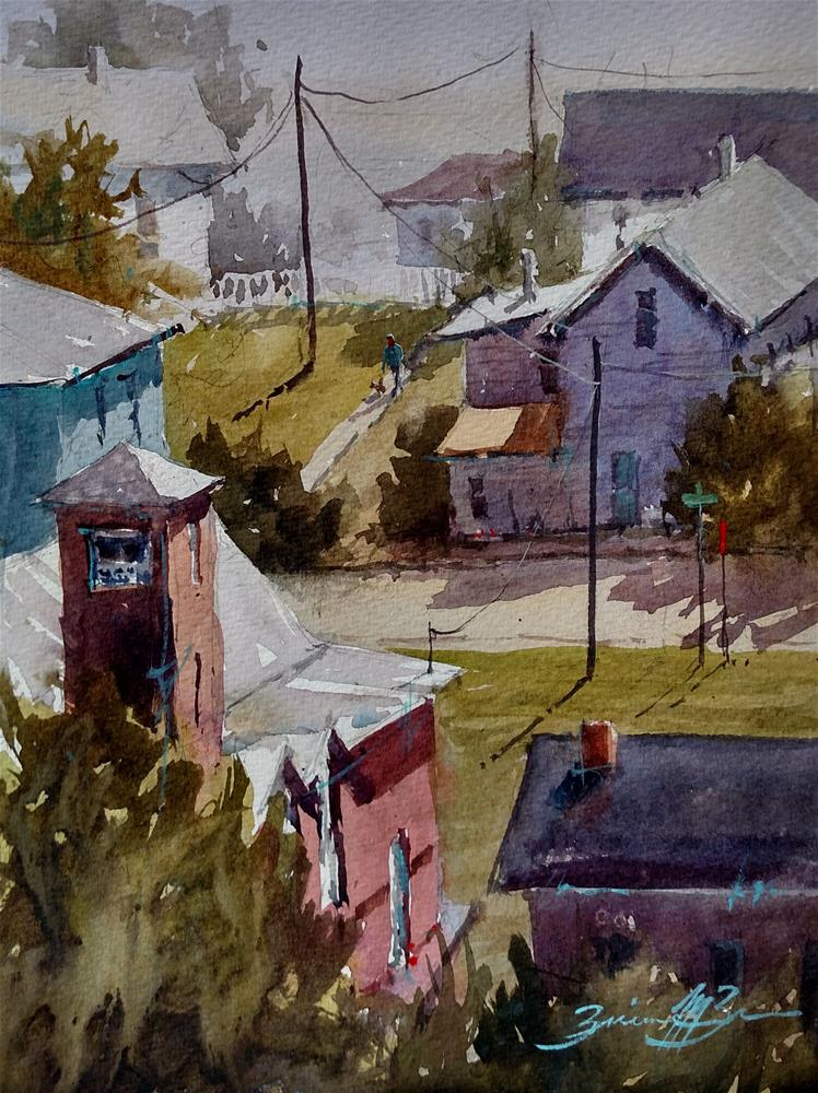 """Looking Down on River St"" original fine art by Brienne M Brown"