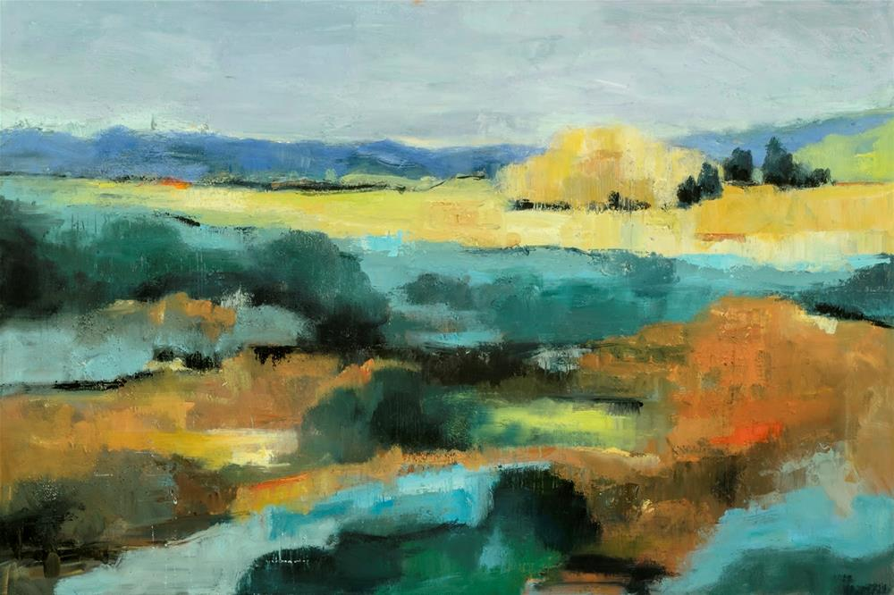 """KMA3083 Patterns of Nature by Colorado artist Kit H Mahoney (24x36 oil abstracted landscape)"" original fine art by Kit Hevron Mahoney"