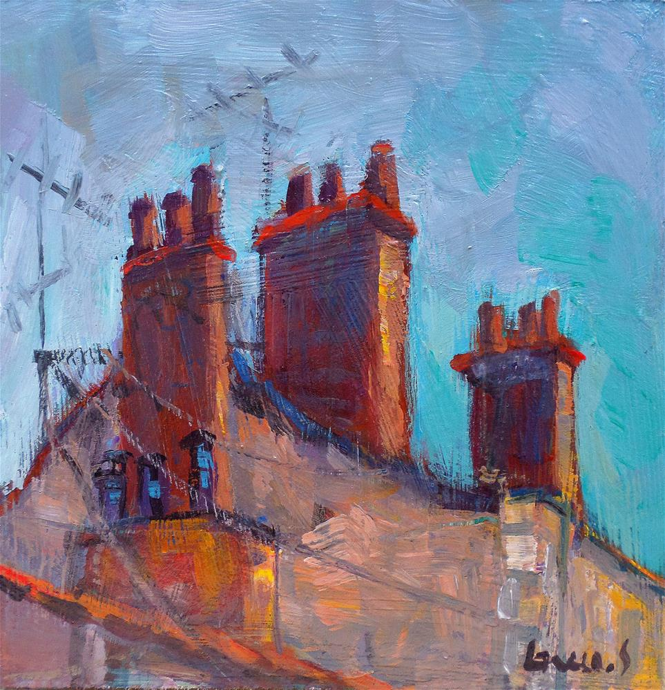 """Roof and chimney in paris"" original fine art by salvatore greco"