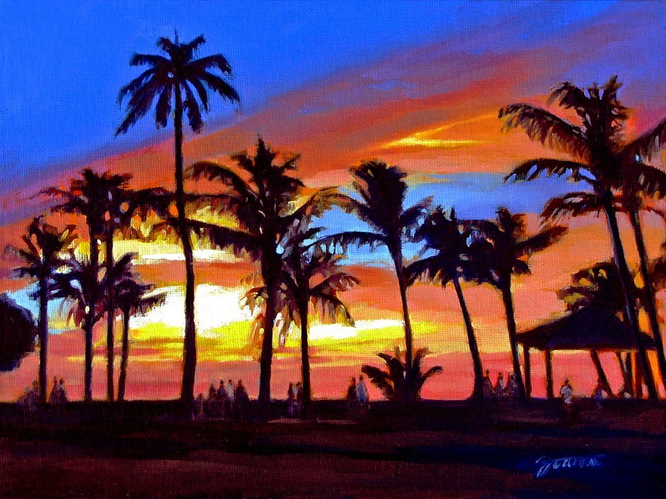 """Paradise View--Painting of Sunset at Paradise Cove Luau, Oahu Hawaii"" original fine art by Joanna Bingham"
