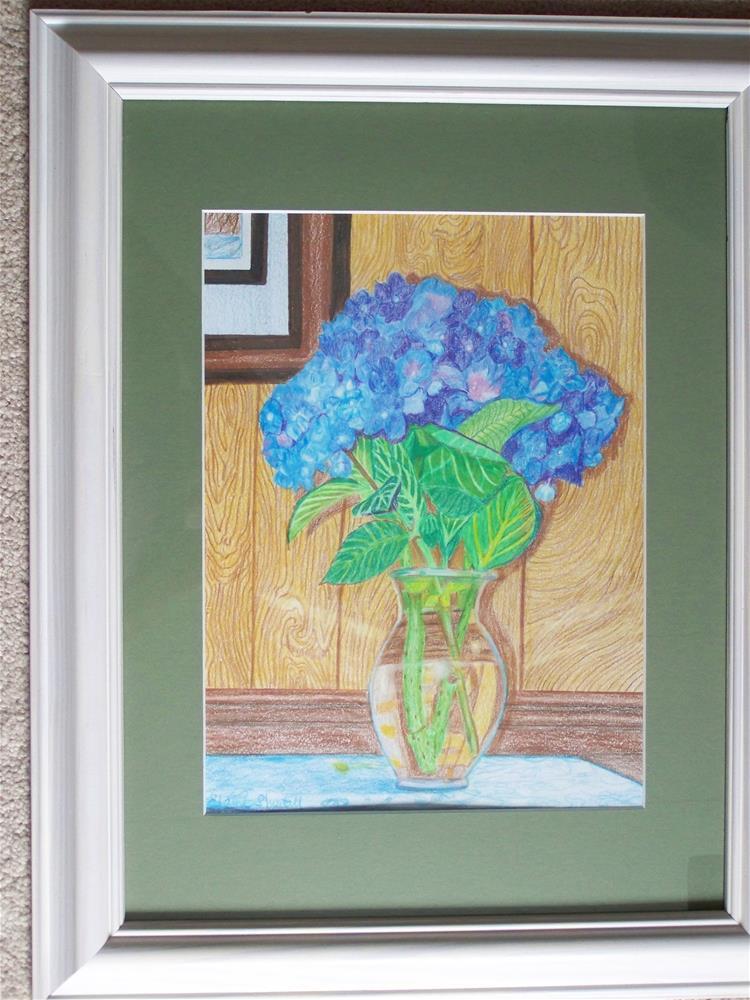 """""""Blue Hydrangeas in Vase (Framed)"""" original fine art by Elaine Shortall"""