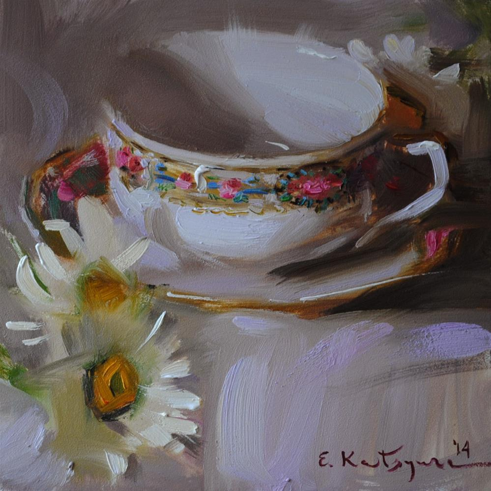 """White Teacup and Daisies"" original fine art by Elena Katsyura"
