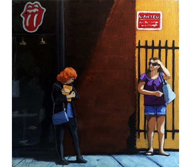 """SALE! Waiting for the bus - city people figurative oil painting"" original fine art by Linda Apple"
