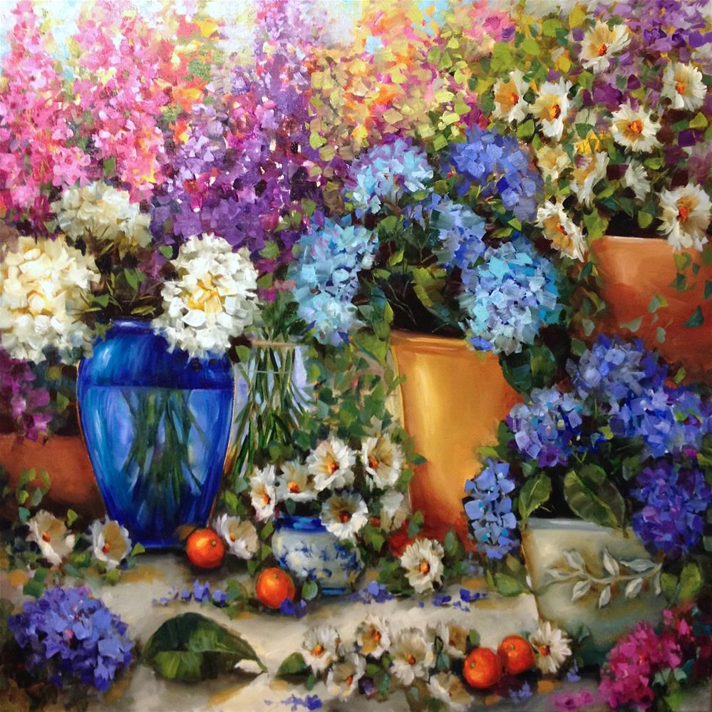 """Colorful Companions Hydrangea Garden - Classes and Videos by Nancy Medina"" original fine art by Nancy Medina"