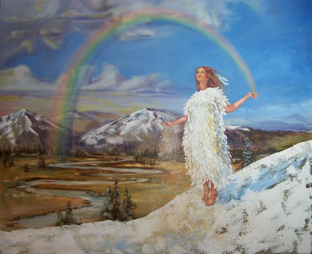 """Rainbow Woman: She sows the seeds of sacred dreams"" original fine art by Elaine Evans"