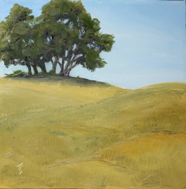 """Trees on the Hill"" original fine art by Jane Frederick"