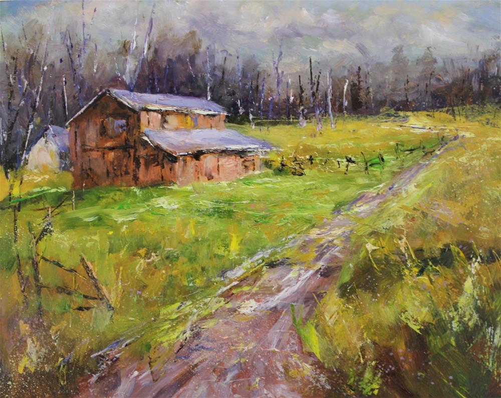 """Original oil barn impressionism landscape painting Brown County IN"" original fine art by Alice Harpel"