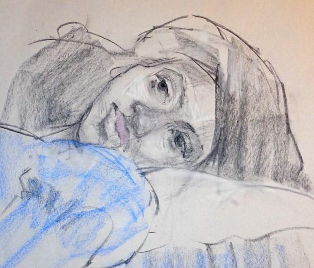 """Janet Resting"" original fine art by Nancy Roberts"