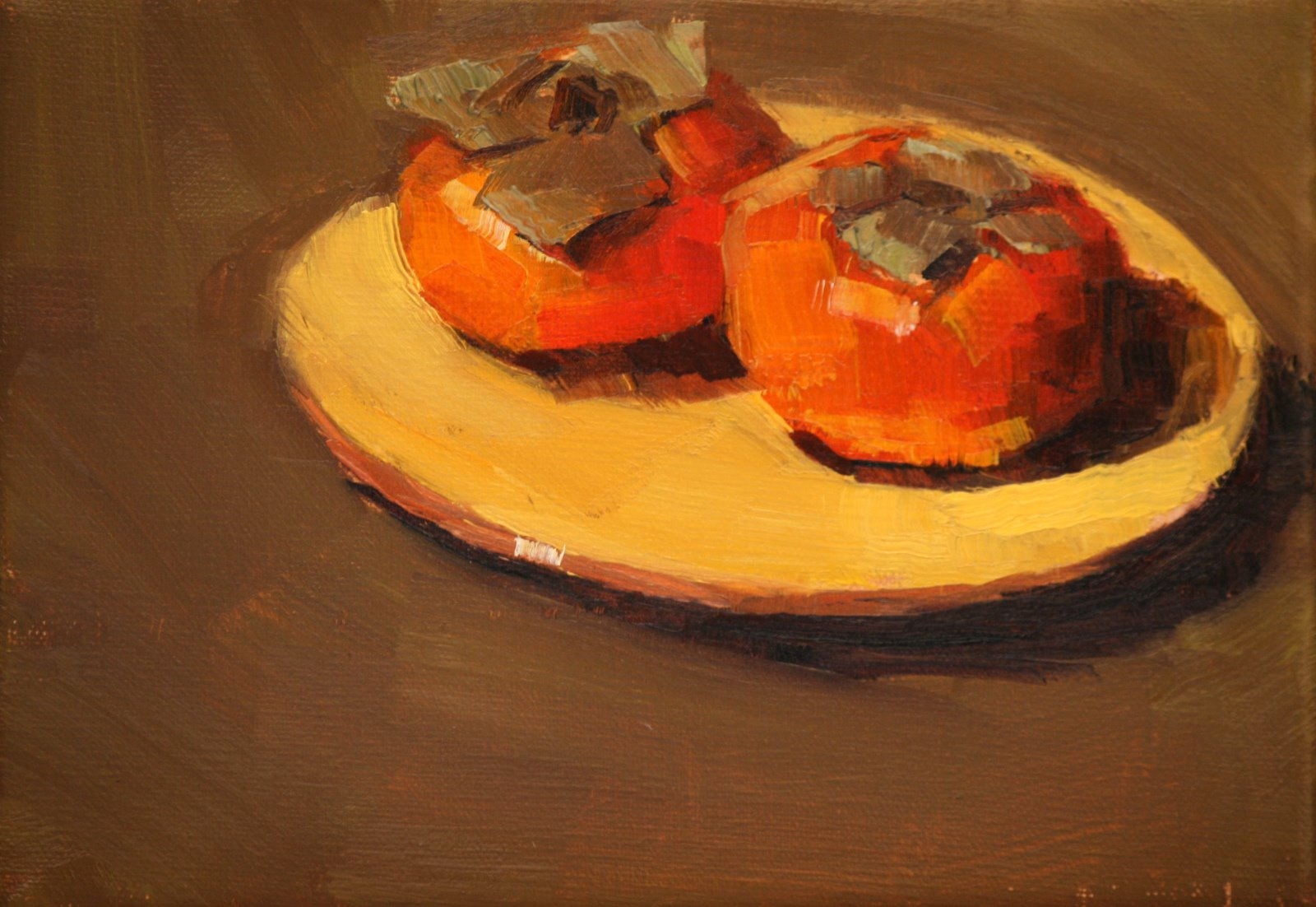 """persimmons past prime"" original fine art by Carol Carmichael"