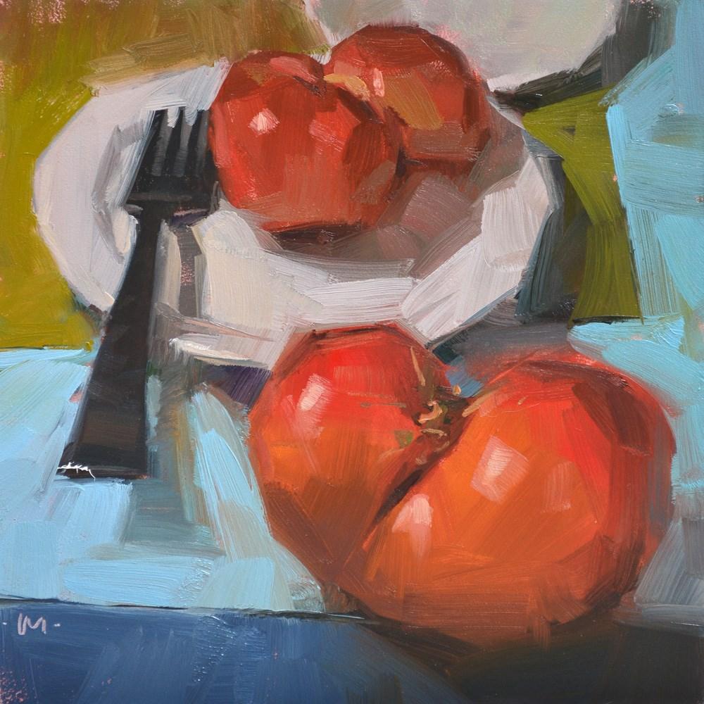 """Don't Leave a Tomato Behind"" original fine art by Carol Marine"