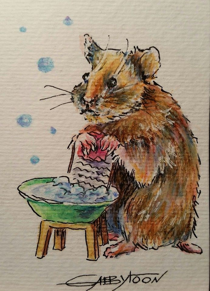 """Laundry(ACEO)"" original fine art by Gabriella DeLamater"