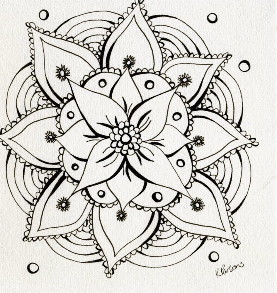 """Zentangle Flower"" original fine art by Kali Parsons"