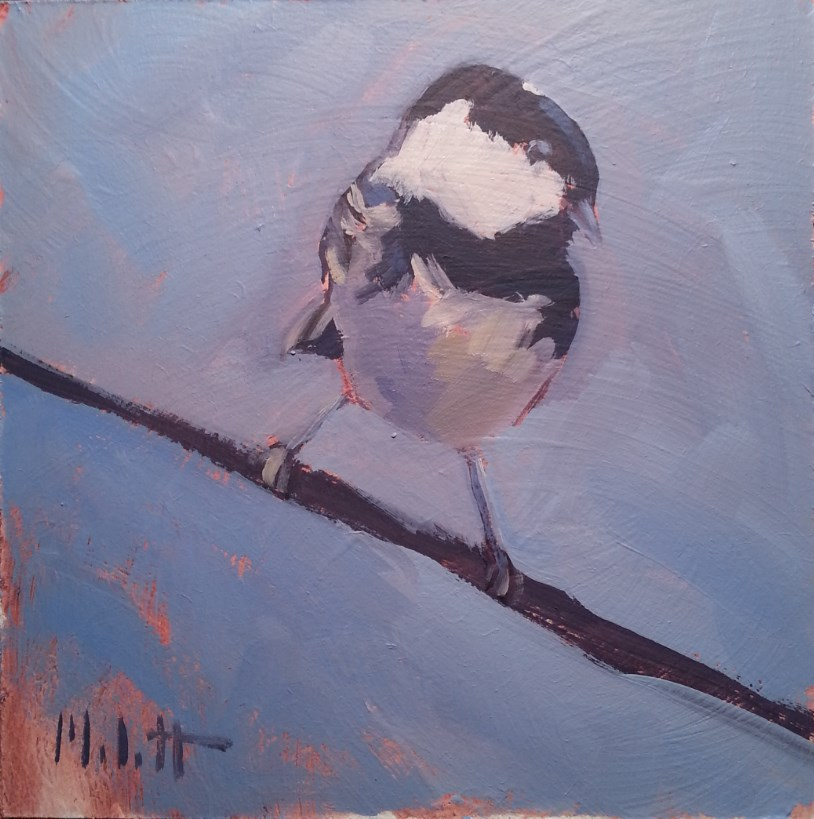 """Chickadee Bird Painting Original Oil"" original fine art by Heidi Malott"