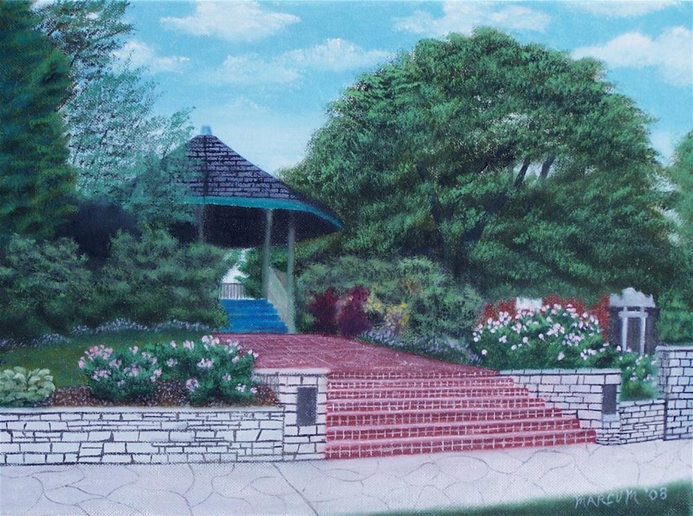 """Gazebo in St. Charles, Mo."" original fine art by John Marcum"