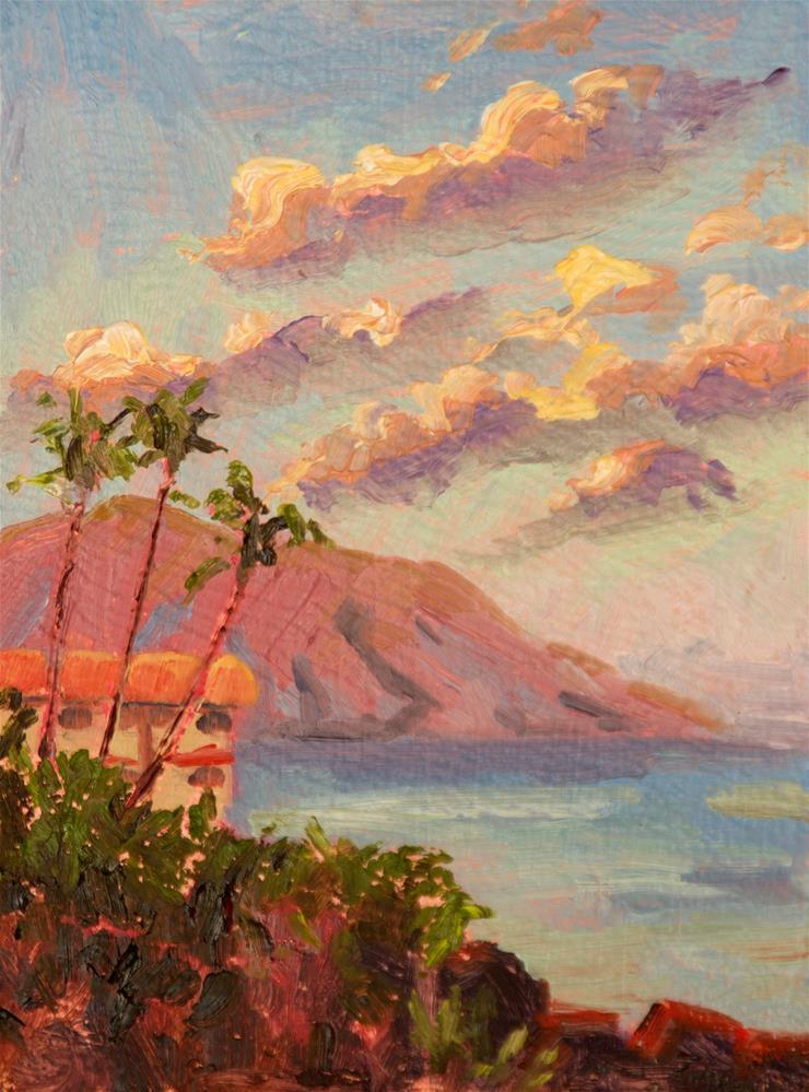 """RESORT BY THE SEA"" original fine art by Karen E Lewis"