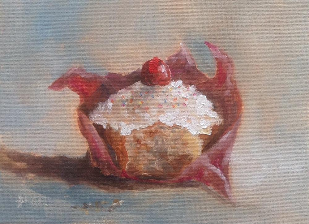 """Birthday cupcake #690"" original fine art by Heidi Shedlock"