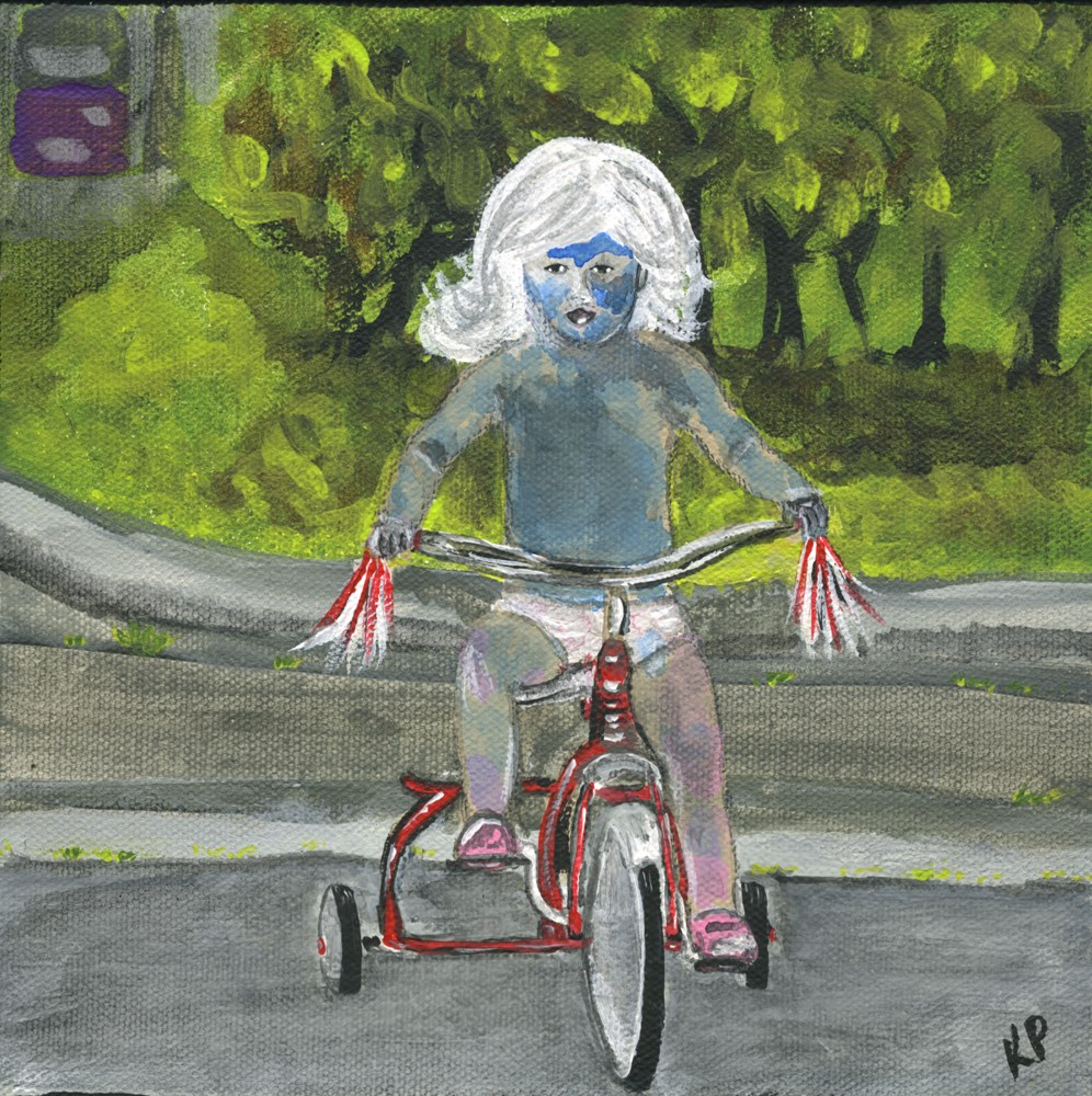 """Painted Warrior on a Tricycle"" original fine art by Kali Parsons"