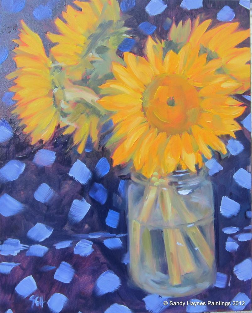 """Periwinkle polka-dots"" original fine art by Sandy Haynes"
