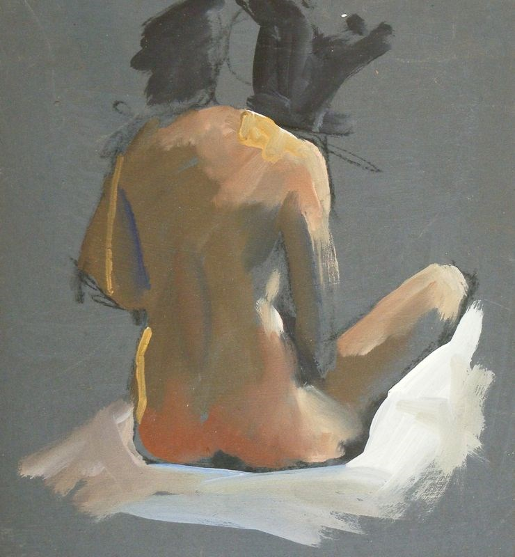 """Seated nude sketch"" original fine art by Peter Orrock"