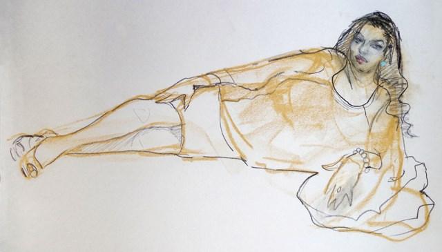 """Lacey, Reclining Pose"" original fine art by Nancy Roberts"