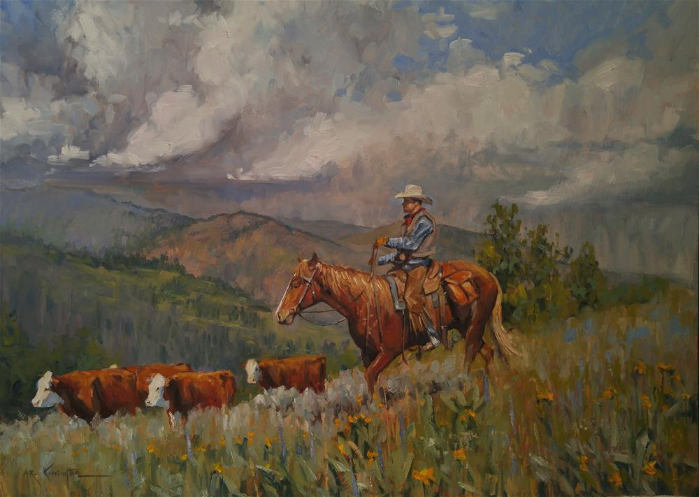 """Big Ridge Cattle"" original fine art by Rick Kennington"