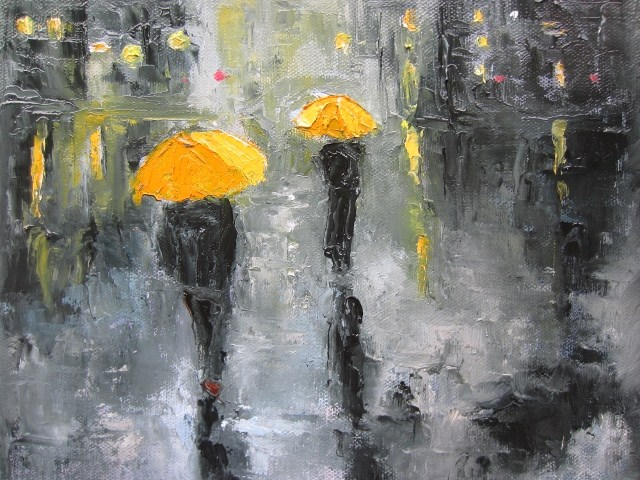 """Time for the umbrella (3)"" original fine art by Astrid Buchhammer"
