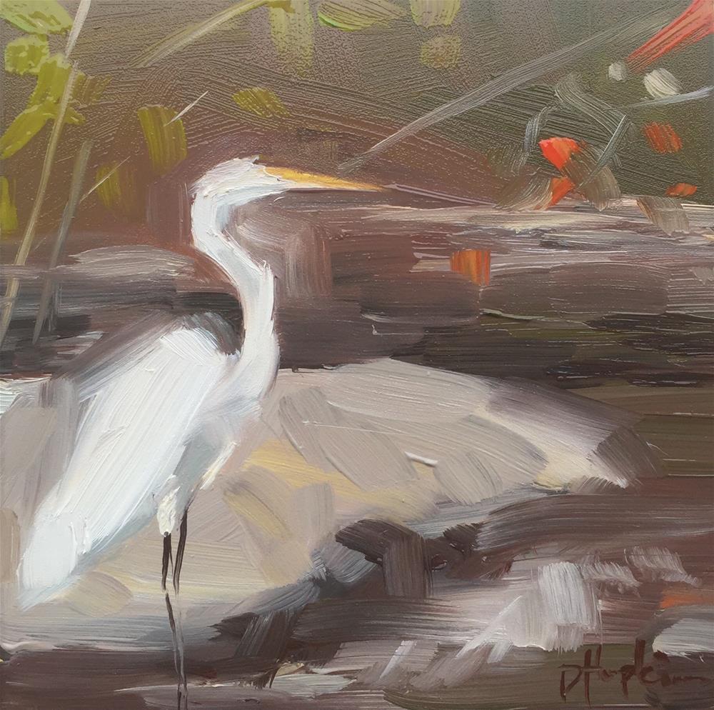 """""""City Park Egret 3"""" original fine art by Denise Hopkins"""