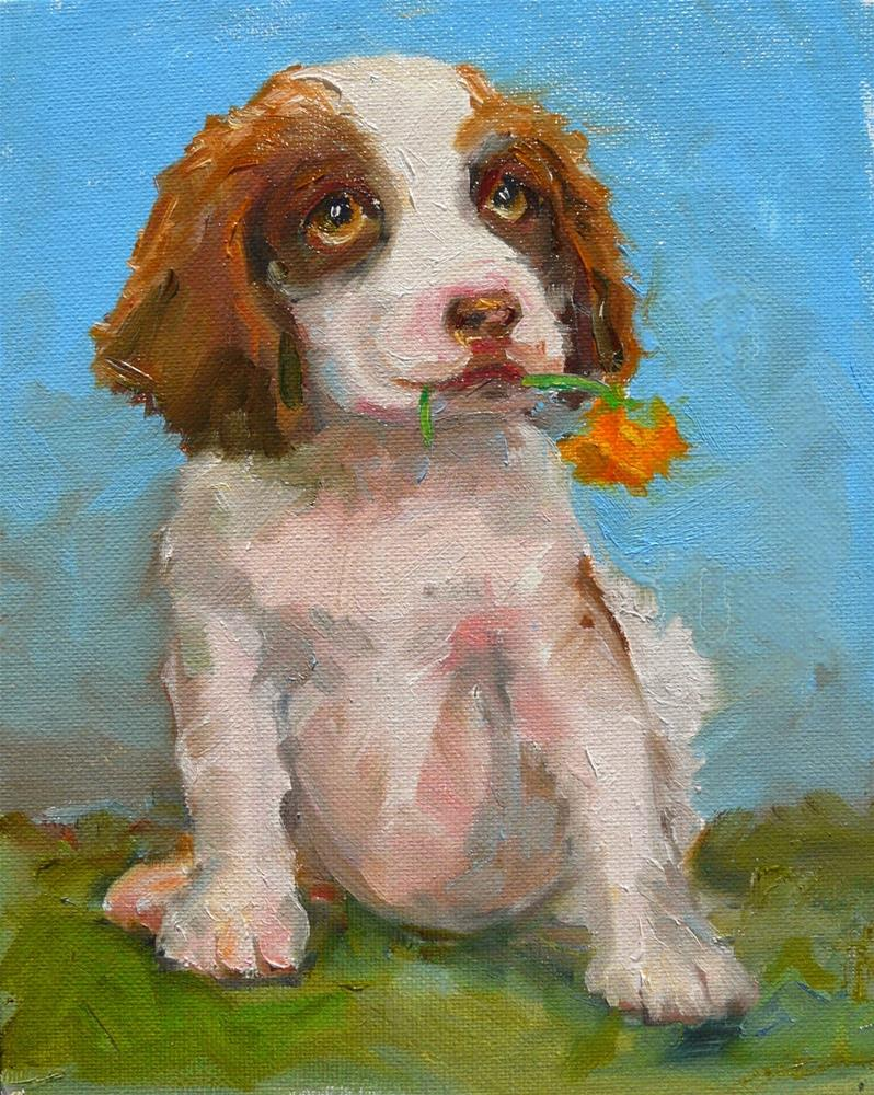 """Pansy Eater,portrait,oil on canvas,10x8,price$350"" original fine art by Joy Olney"