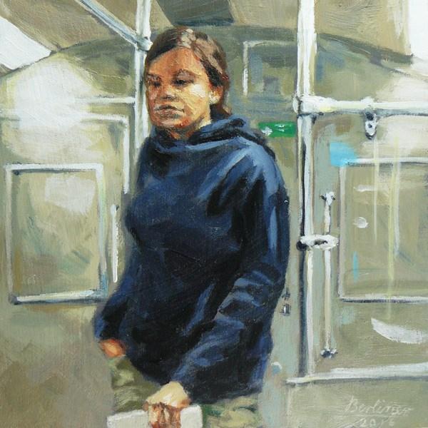 """091 In the subway"" original fine art by Anja Berliner"
