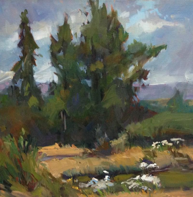 """""""Yaquina Bay Trees"""" original fine art by Patti McNutt"""