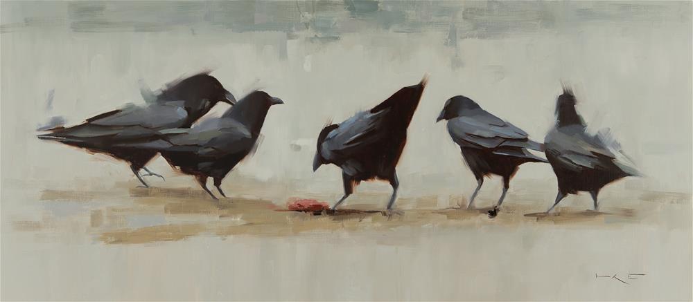 """Five Ravens"" original fine art by Thorgrimur Andri Einarsson"