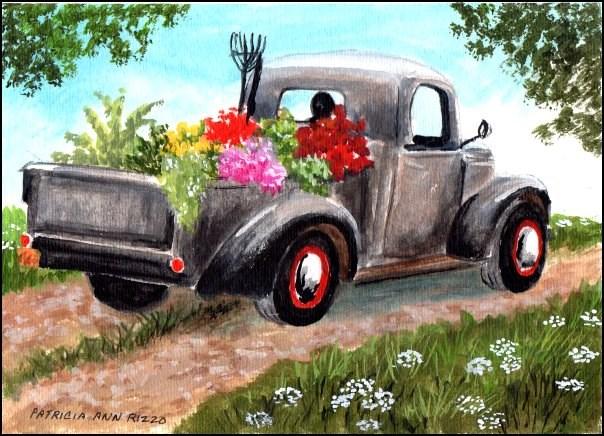 """""""The Gardner's Truck"""" original fine art by Patricia Ann Rizzo"""