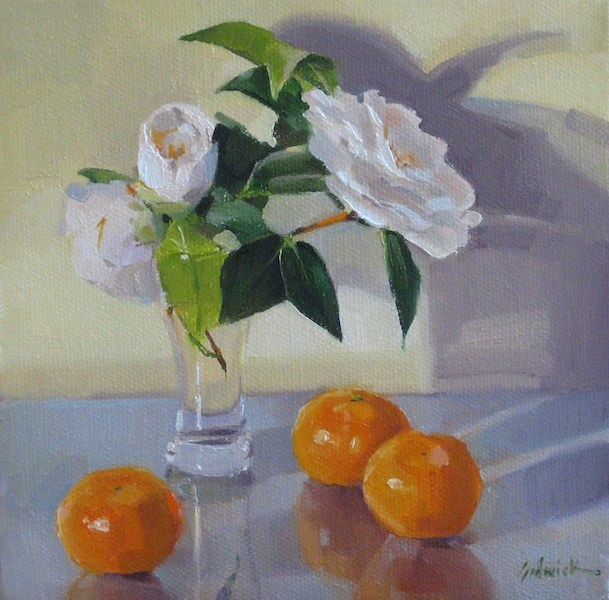 """""""Creamsicle fruit flowers floral painting still life orange and white daily painting"""" original fine art by Sarah Sedwick"""