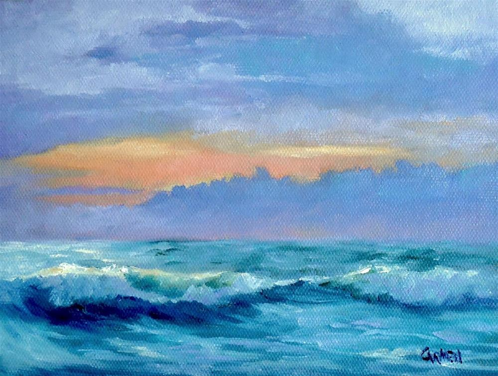 """Sunrise on Surf, 8x6 Oil Seascape on Canvas Panel, Daily Painting"" original fine art by Carmen Beecher"