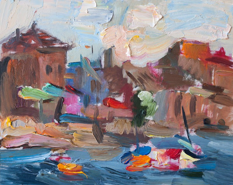 """Morning Seafront, White Clouds & Boats"" original fine art by Anna  Fine Art"