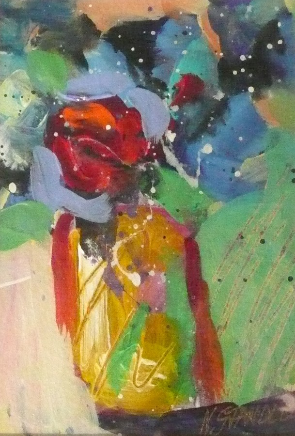 One Red Rose #7 11079 original fine art by Nancy Standlee