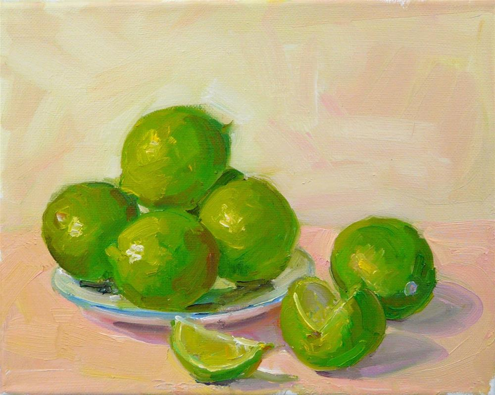 """Plate of Limes,still life,oil on canvas,8x10,price$300"" original fine art by Joy Olney"