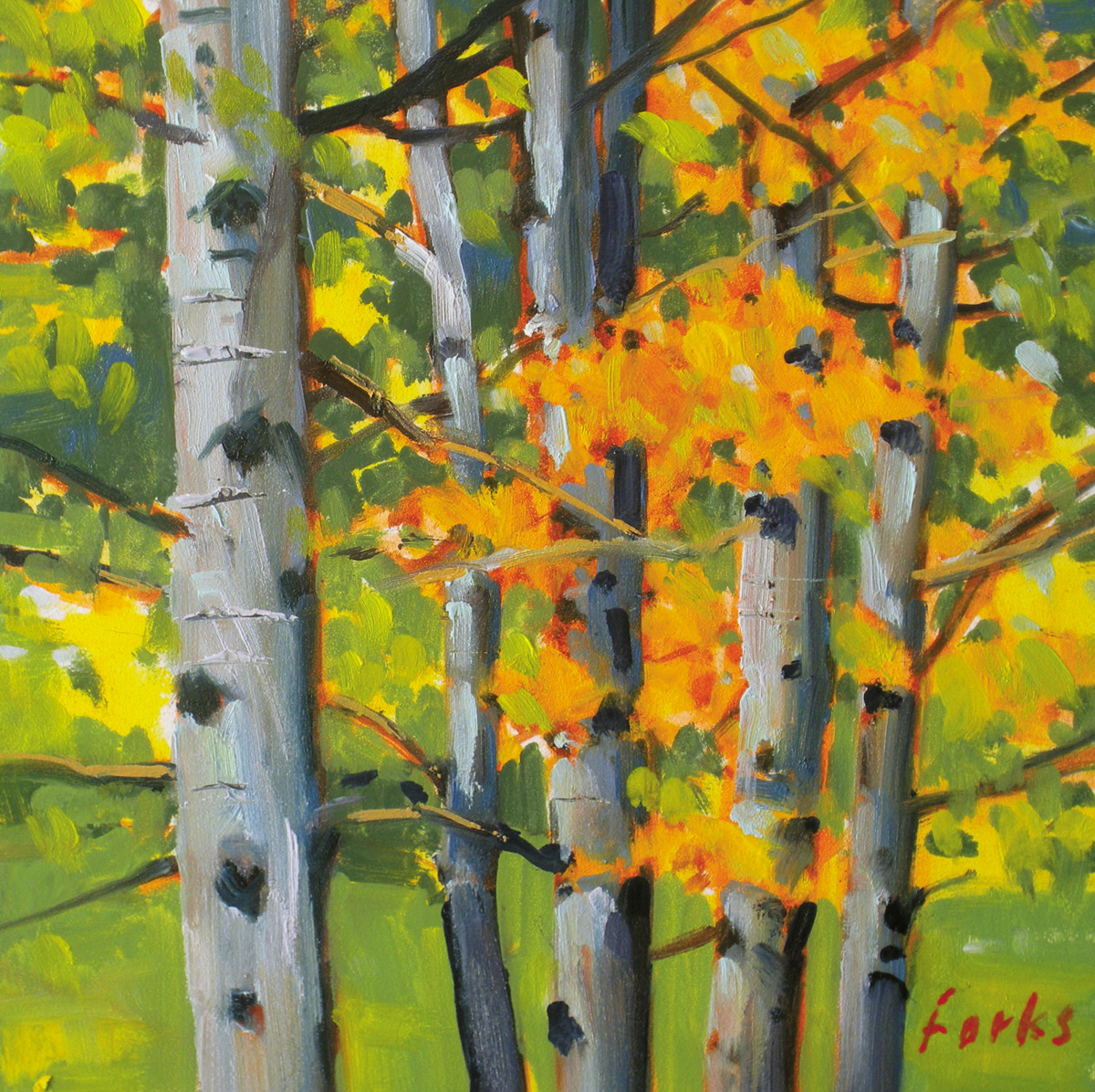 """Aspens"" original fine art by David Forks"