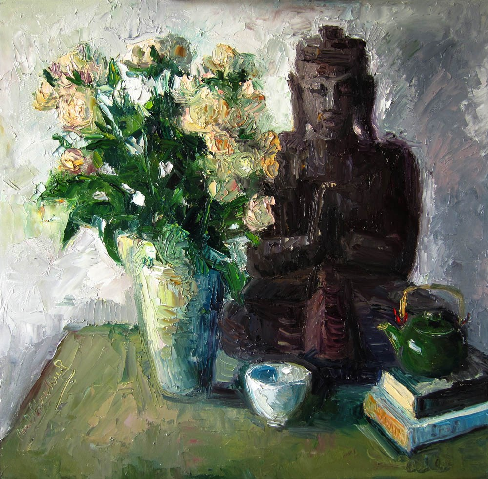 """Buddha, Pale Peach Roses"" original fine art by Carol Steinberg"