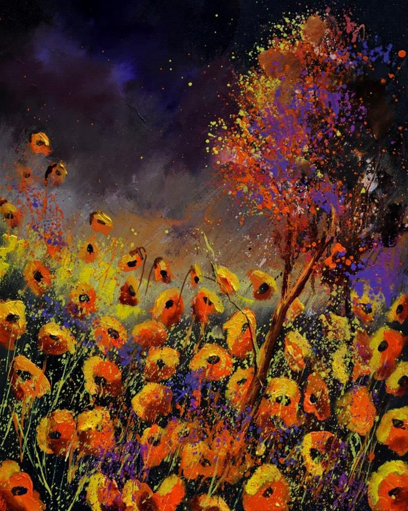 """orange poppies 454111"" original fine art by Pol Ledent"